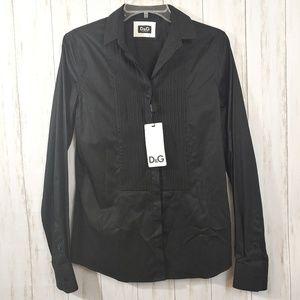 D&G DOLCE AND GABBANA Black Button Front Shirt